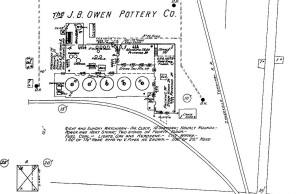 Map of the J.B. Owens Pottery Co. Factory, Sanborn Map Company (1895)